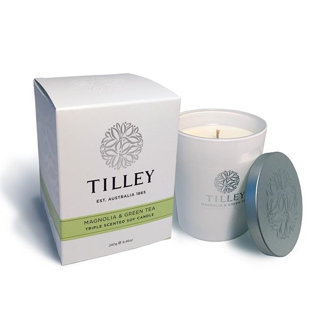 Tilley百年特莉木蘭花&綠茶香氛大豆蠟燭250g