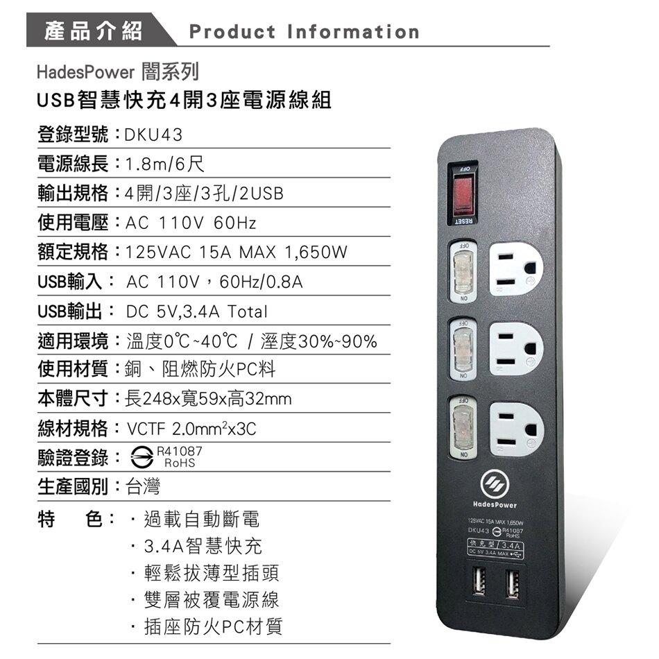 【HadesPower 黑帝斯】3.4A 雙USB智慧快充電腦延長線《2019出品_最新安規》(6-9尺) DKU43