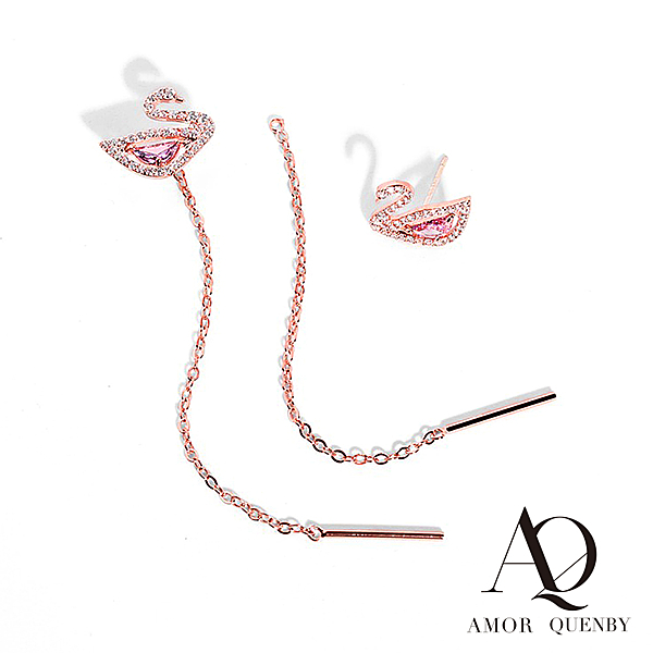 AQ 925純銀 清新閃鑽粉玫瑰金天鵝兩戴款耳線/耳環(AMOR Quenby)