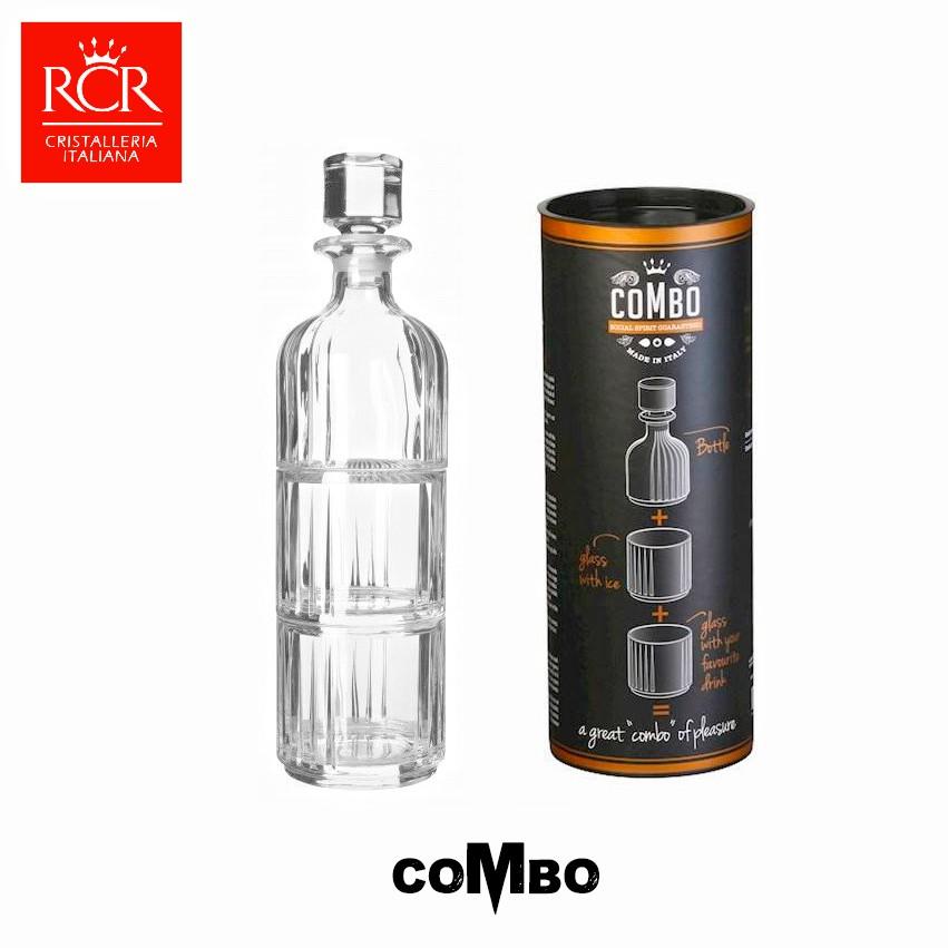 義大利RCR COMBO SET 水晶玻璃酒瓶杯組 一壺二杯 水晶玻璃瓶 酒樽 酒杯 酒器 LUXION水晶玻璃