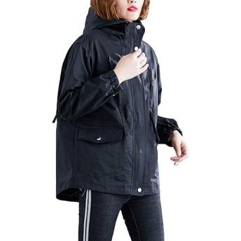 [YYQ-SHOP]レディース長袖ジャケットショートコートフード付きジャンパー無地カジュアルアウタートレンチコートファッション春服カジュアル大きいサイズ(8黒)