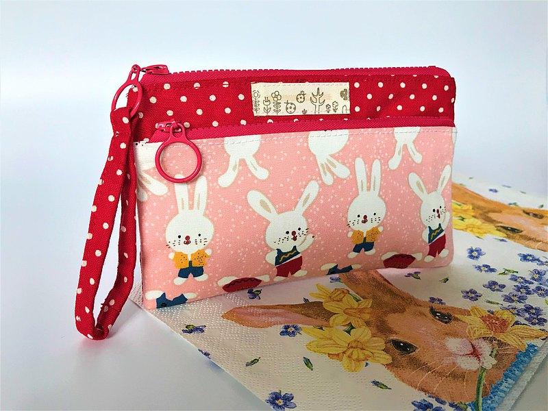 粉紅兔 雙拉錬 多功能袋 錢包 手機袋
