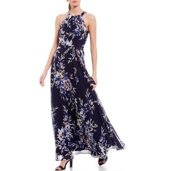 [エリザジェイ] レディース ワンピース Floral Print Halter Tie Waist Maxi Chiff [並行輸入品]