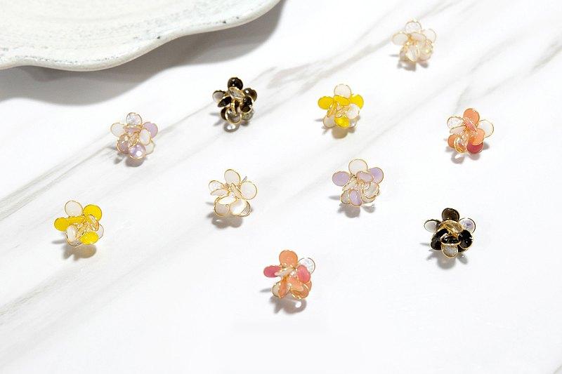 耳針/耳夾水晶花-嘟嘟花球(小)-光點飾品
