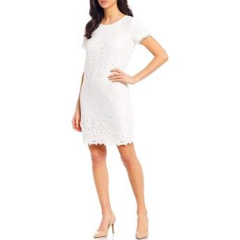 [カールラガーフェルド] レディース ワンピース Floral Lace Trim Detail Short Sleeve She [並行輸入品]