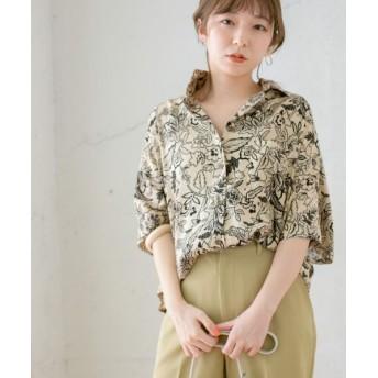 KBF/ケービーエフ 【WEB限定】ボタニカルプリントBIGシャツ BEIGE one