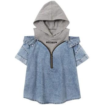子供 女の子 パーカー 半袖 Tシャツ Tシャツパーカー キッズ ガールズ フェイクシャツ 肩あき 重ね着風 レイヤード 361577001 デニム:150cm
