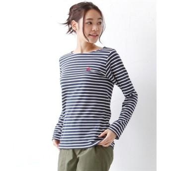 【大きいサイズ】 LOGOS(ロゴス) ボーダー長袖裏メッシュTシャツ plus size T-shirts, テレワーク, 在宅, リモート