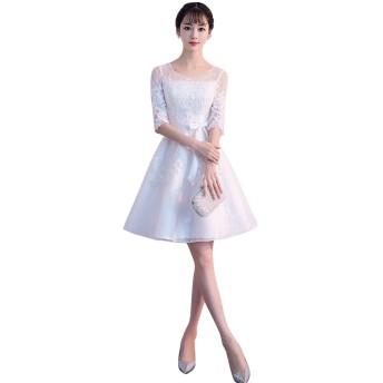発表会プリンセス衣装 パーティードレス レース 上品優雅 二次会 プリンセス ウエディングドレス (S, ホワイト)