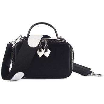 メッセンジャーバッグ, スタイリッシュなクロスボディ財布レトロなダブルジッパーヒット色スクエアレザーショルダーバッグメッセンジャーバッグ (Color : Black)