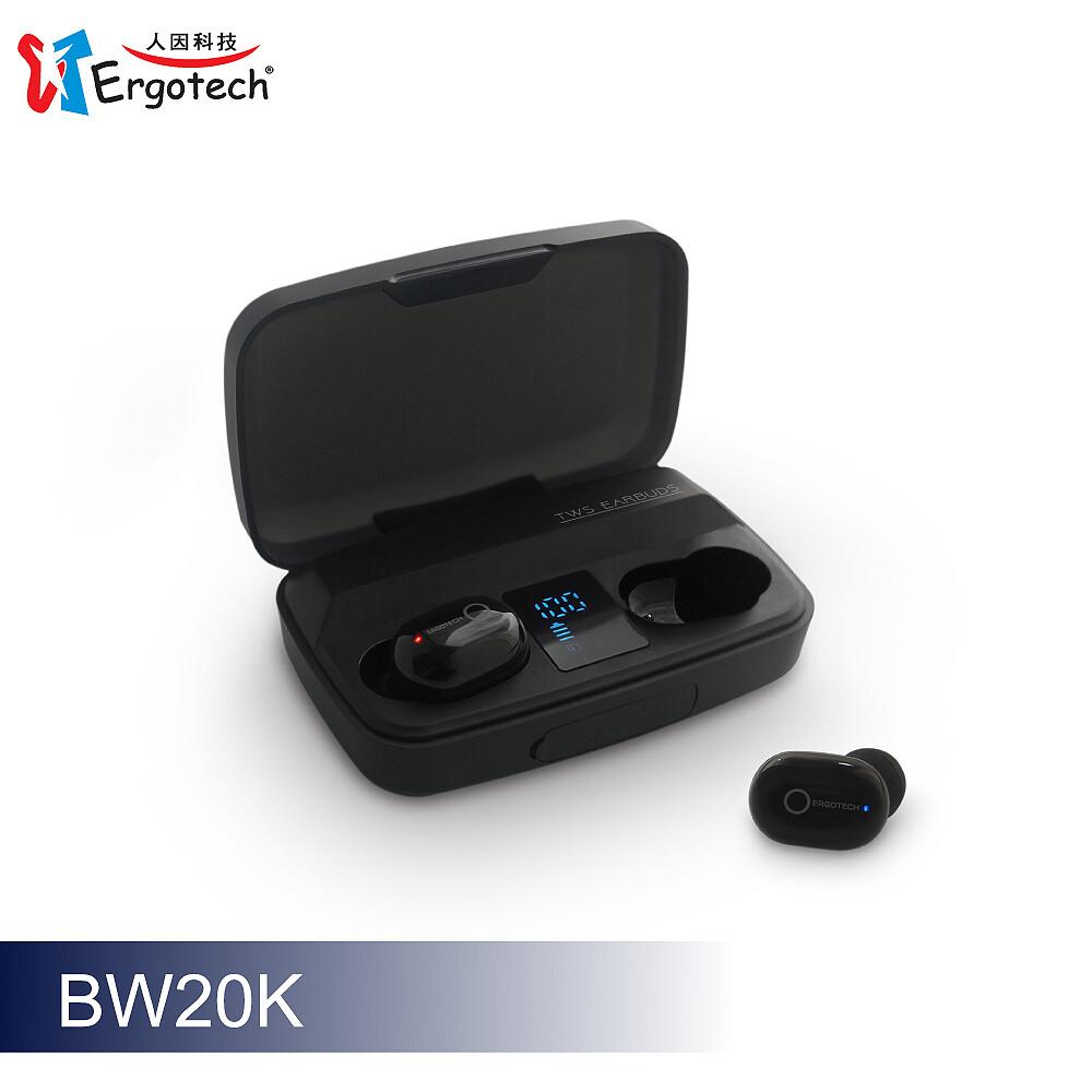 ergotech人因科技 超輕3.8克大電量真無線藍牙耳機曜石黑 bw20k