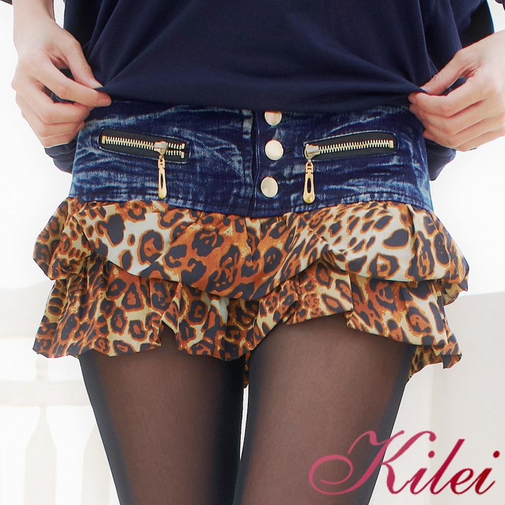 Kilei 豹紋低腰牛仔短褲裙XA940(自信黑點)小尺碼 廠商直送 現貨