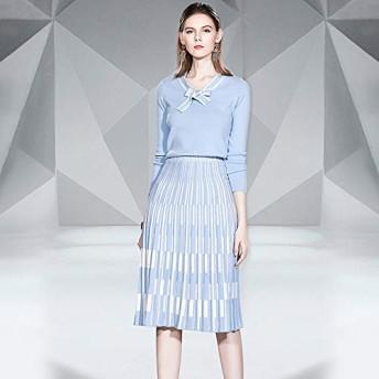 衣類セット レースストライプコート+プリーツスカートニットスーツ (Color : Baby Blue, Size : S)