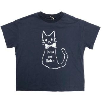 ユニカ ねこ Tシャツ XS~M キッズ ネイビー M(165) 【UNICA】
