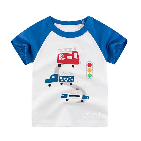棉感彩藍交通短袖T恤上衣 T-shirt 童裝