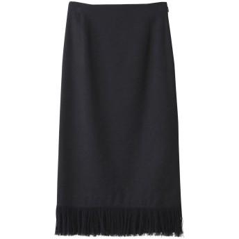 PLAIN PEOPLE プレインピープル リネンシルクツイードフリンジタイトスカート ネイビー