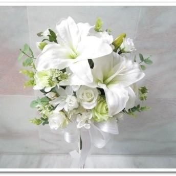 ◆アートフラワー 造花◆豪華カサブランカ&ローズのクラッチブーケ 花束アレンジエディングブーケやインテリアにも