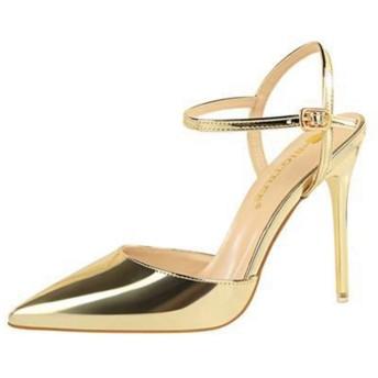 レディース ポインテッドトゥ パンプス サンダル ストラップパンプス エナメル 黒 ハイヒール とんがり 24.5cm 靴 美脚 10.5cm ヒール シューズ ストラップ 脱げない ゴールド 痛くない フォーマル カジュアル 通勤 ビジネス パーティー
