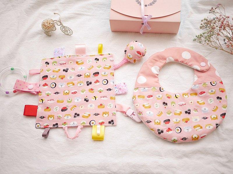 六重紗口水巾+安撫巾 手搖鈴可拆下 彌月禮盒 粉紅柴犬壽司款
