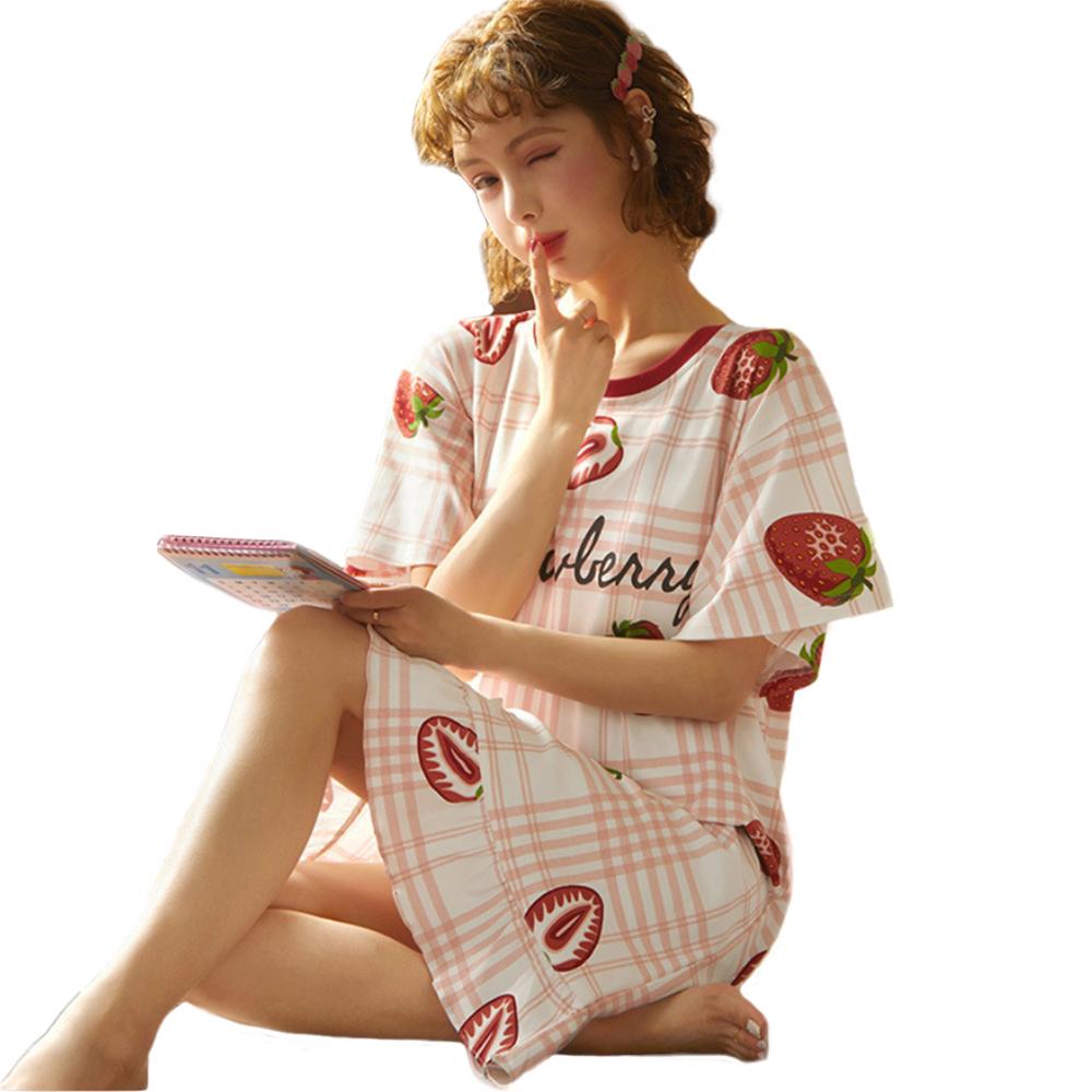 【Secret Lover】草莓不規則格子滾荷葉邊居家服睡裙SL22027