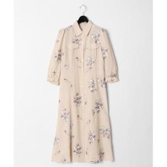 【グレースコンチネンタル】フラワー刺繍シャツワンピース