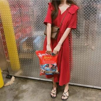 Huangfubin-SHO 女性の夏の赤のセクシーなかわいいピーターパンの襟レッドソリッドロングミッドロングドレス女性ルースVESTIDOローブ (Color : Red, Size : S)