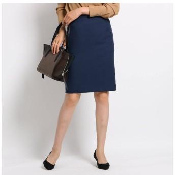【インディヴィ/INDIVI】 【マシンウォッシュ/UV】バックスリットツイルタイトスカート