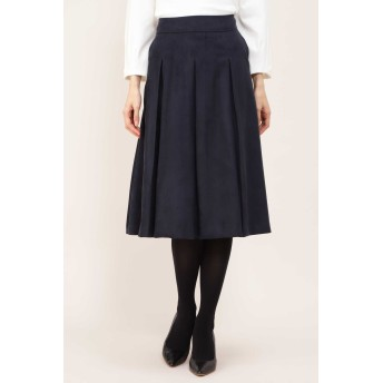 NATURAL BEAUTY エルモザスエードボックスプリーツスカート ひざ丈スカート,ネイビー