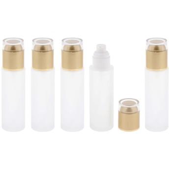 5本 ポンプボトル フロスティング表面 詰め替え 小分け 蓋付 80ミリ 全3色 - ゴールデン
