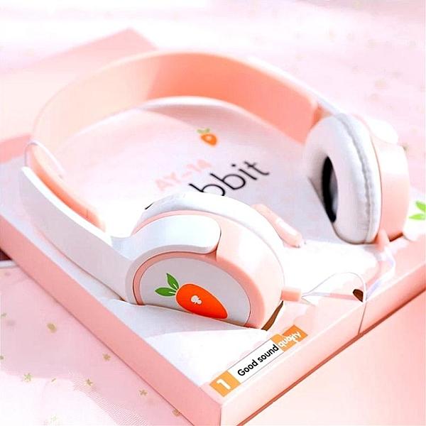 耳機頭戴式女生可愛學生有線帶麥vivo手機通用線控耳麥韓版潮 淇朵市集