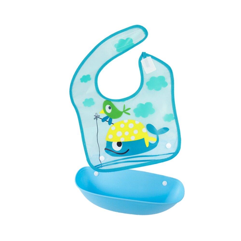 圍兜 開口接飯可拆式口水巾 嬰兒防水立體PVC吃飯衣 Joybaby