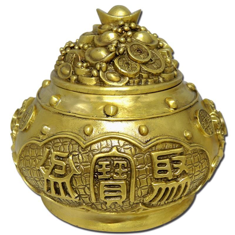 【吉祥開運坊】銅聚寶盆系列【銅製聚寶盆 含蓋 大尺寸 附五色石 五帝錢 球】開光