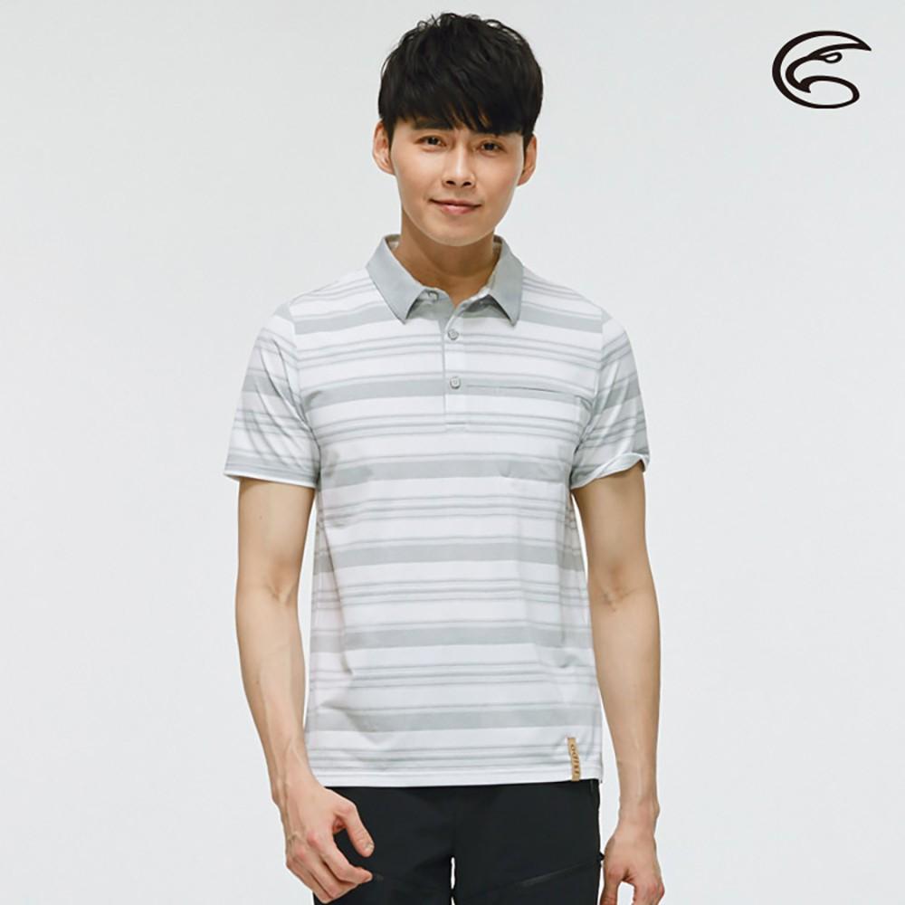 ADISI 男短袖COOLMAX沁涼條紋休閒POLO衫 AL2011050 (M-2XL)【淺灰】