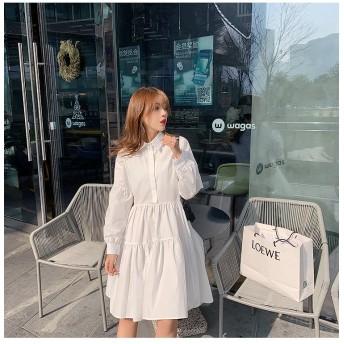 【クーポン使用可能】通勤する 2020年春 長袖 単体ボタン カジュアル ワンピース 小さな白いスカート 百掛け シャツ スリム 上品映え 怠惰な風 簡約 お出かけ エレガント