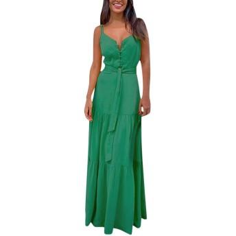 NXPS レディーススパゲッティストラップ夏の自由奔放に生きるマキシロングドレスパーティービーチドレスVネックのスプリットサンドレス花柄ホルタードレス2019新しい#J30 (Color : Green, Size : M)