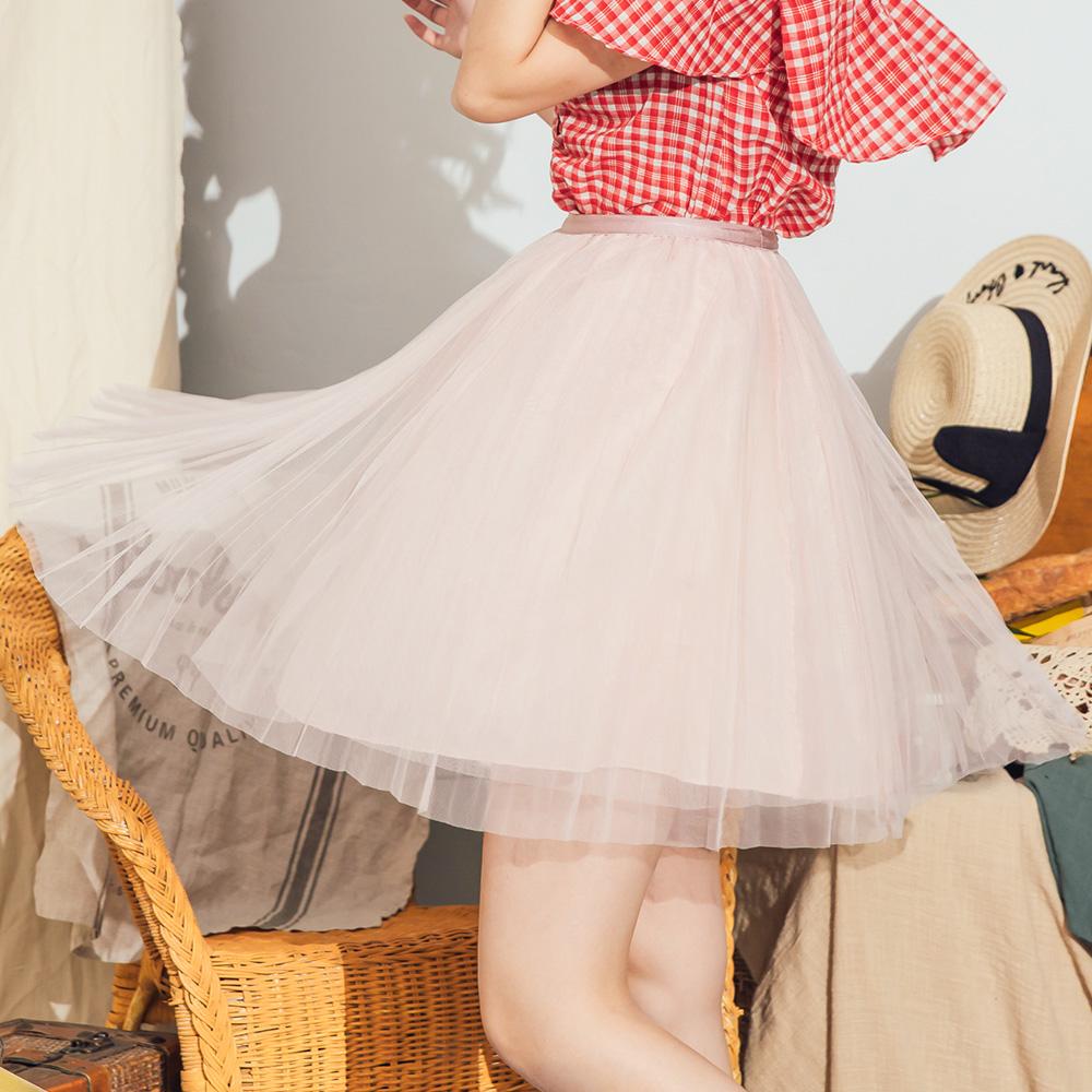 露比午茶-百褶網紗鬆緊紗裙短裙