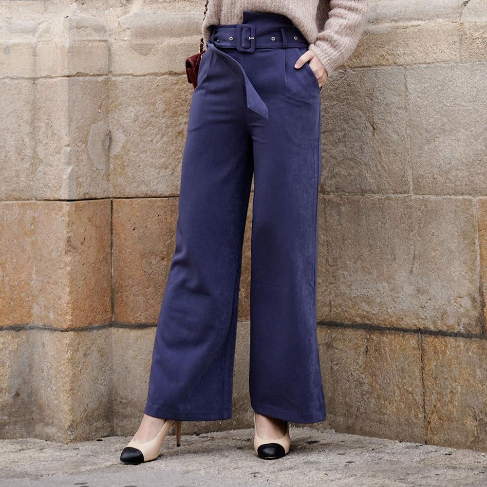 露比午茶-RCha。素色腰帶蜜桃絨寬管長褲