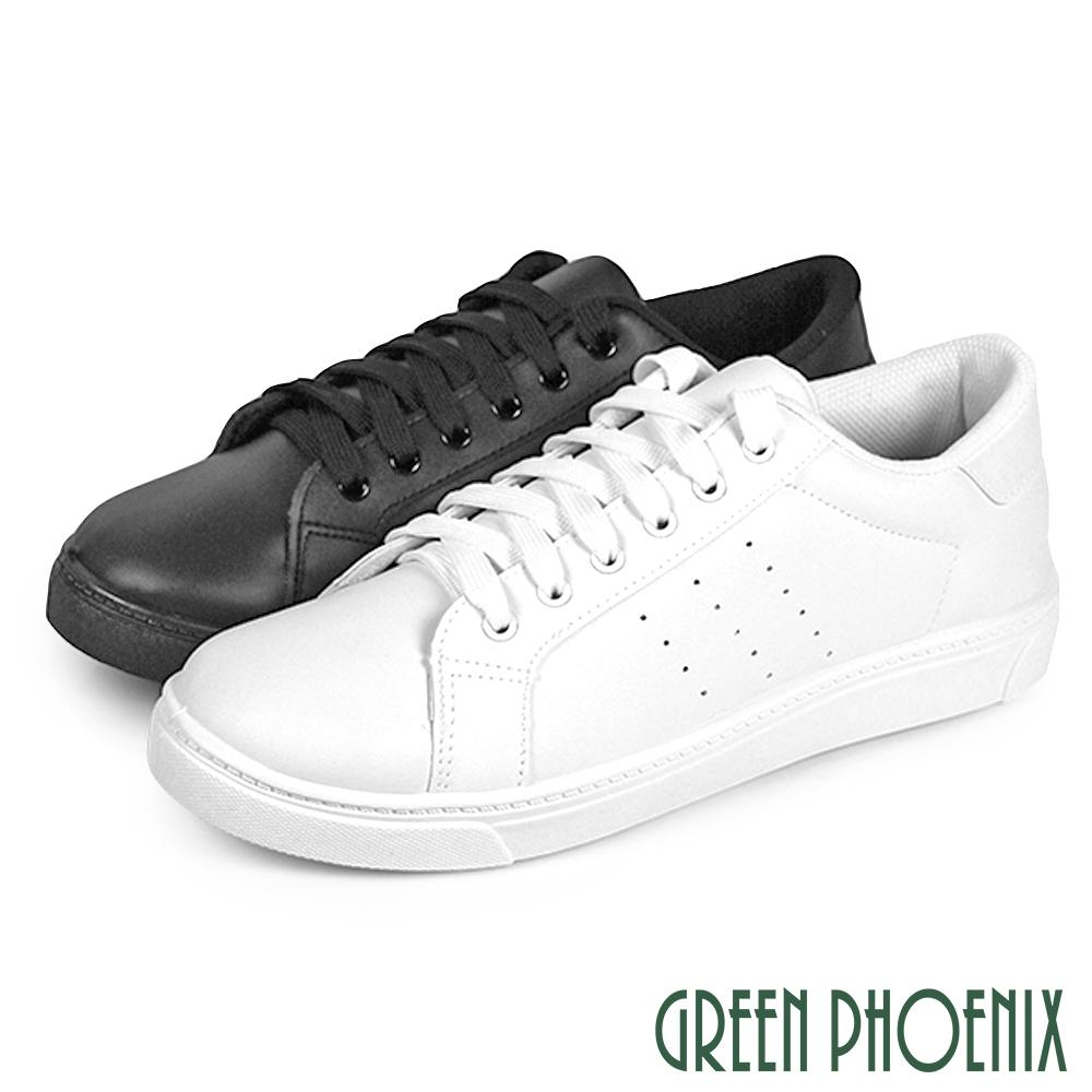 【GREEN PHOENIX】百搭休閒簡約素色綁帶平底鞋/小白鞋(男鞋)P-18756