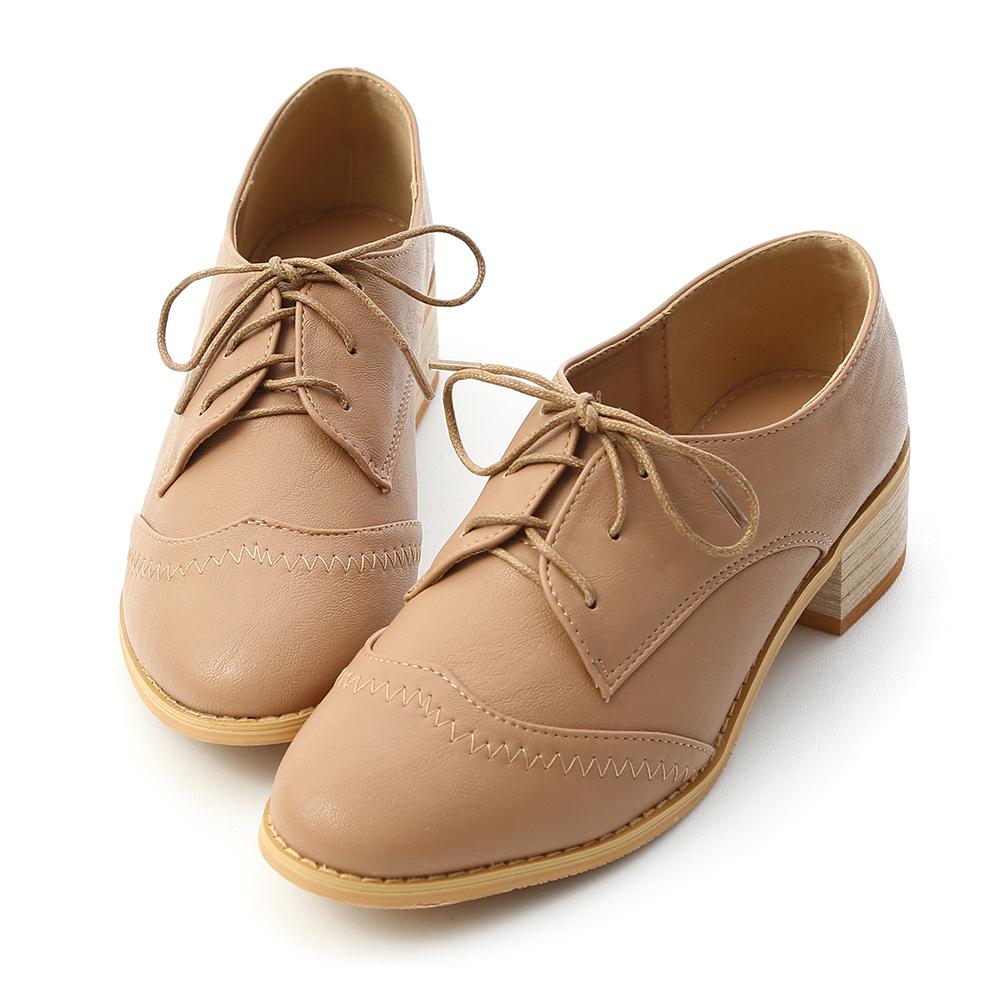D+AF 學院風格 拷克車線綁帶牛津鞋  棕