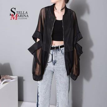国内発送! 欧米風ファッション シースルアウター アシンメトリートップス イタリア・スタイル 韓国ファッション 1702