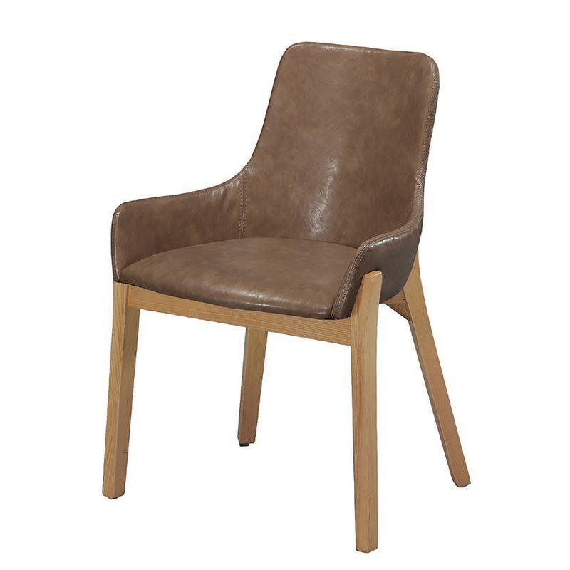 【YA779-5】YS-16原木腳餐椅(咖啡皮)