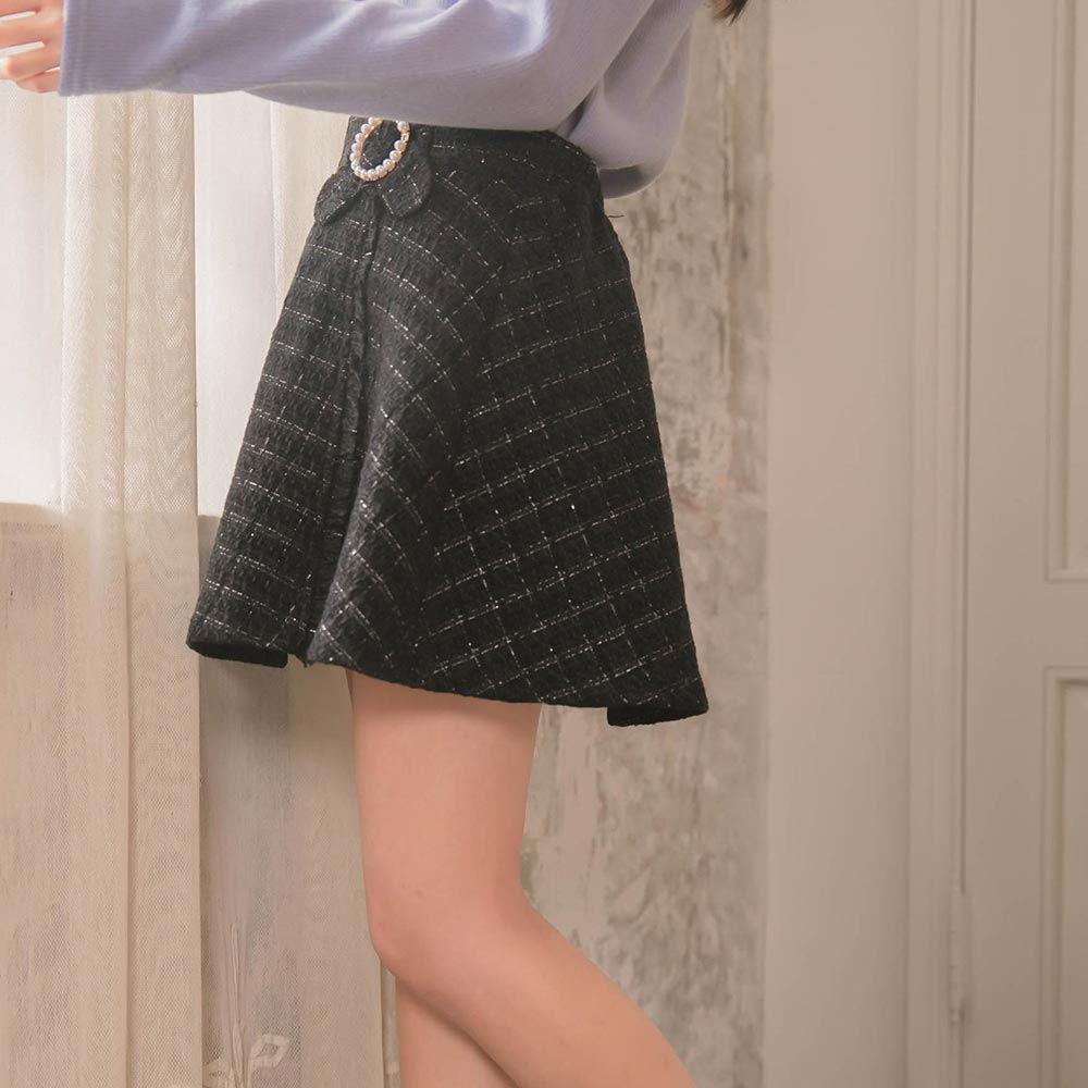 露比午茶-RCha。韓‧小香風珍珠蝴蝶結後鬆緊褲裙