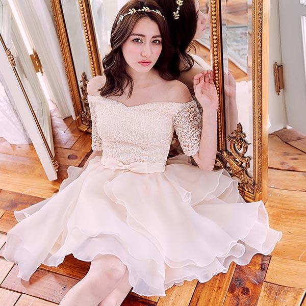 露比午茶-一字領鉤花歐根紗馬甲短袖禮服洋裝