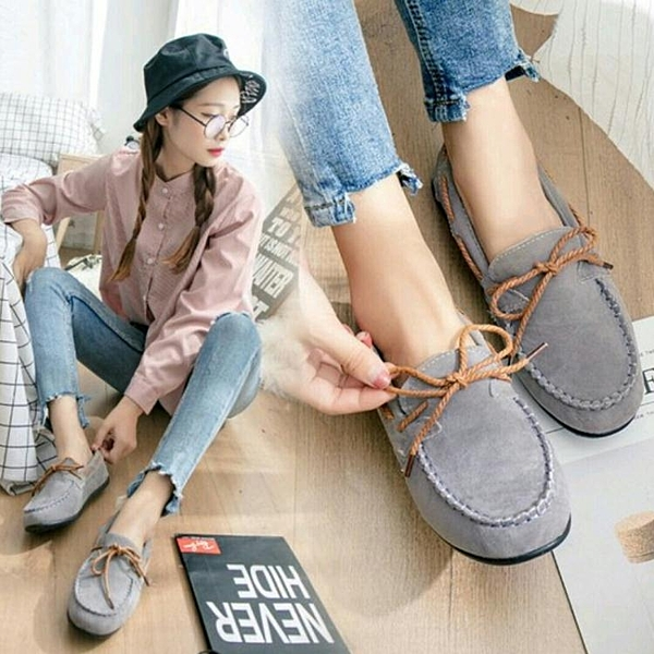 新款豆豆鞋女季社會單鞋一腳蹬懶人平底鞋百搭孕婦 優尚良品