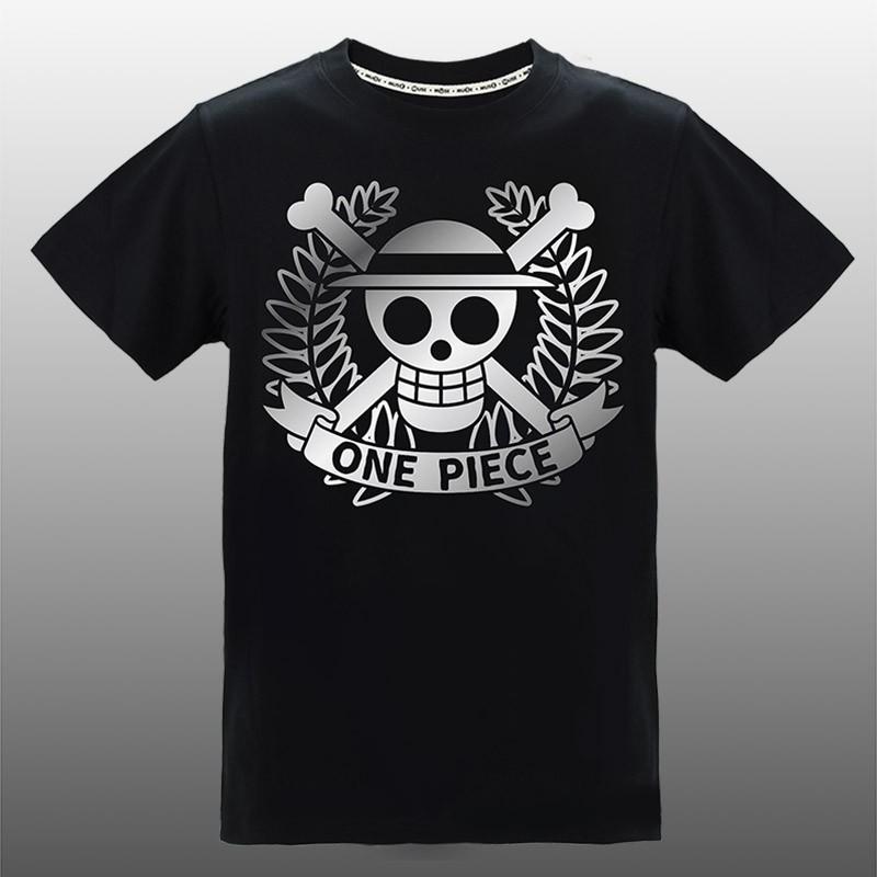 MUSE木棉花 潮流炫光T-shirt(草帽骷髏)-航海王