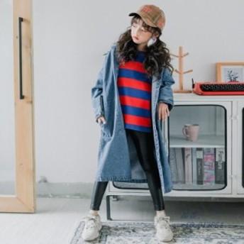 デニムコート 通学 女の子 キッズカジュアルウエア 春秋 子供服 長袖コート 子ともコート 中学生 帽付 キッズジャケット きれいめ 可愛い