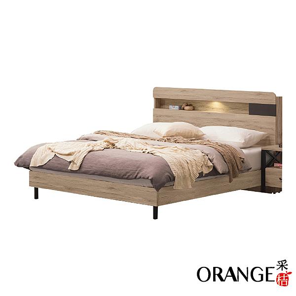 【采桔家居】福特 現代5尺橡木紋雙人床台組合(床頭片+六分床底+不含床墊)