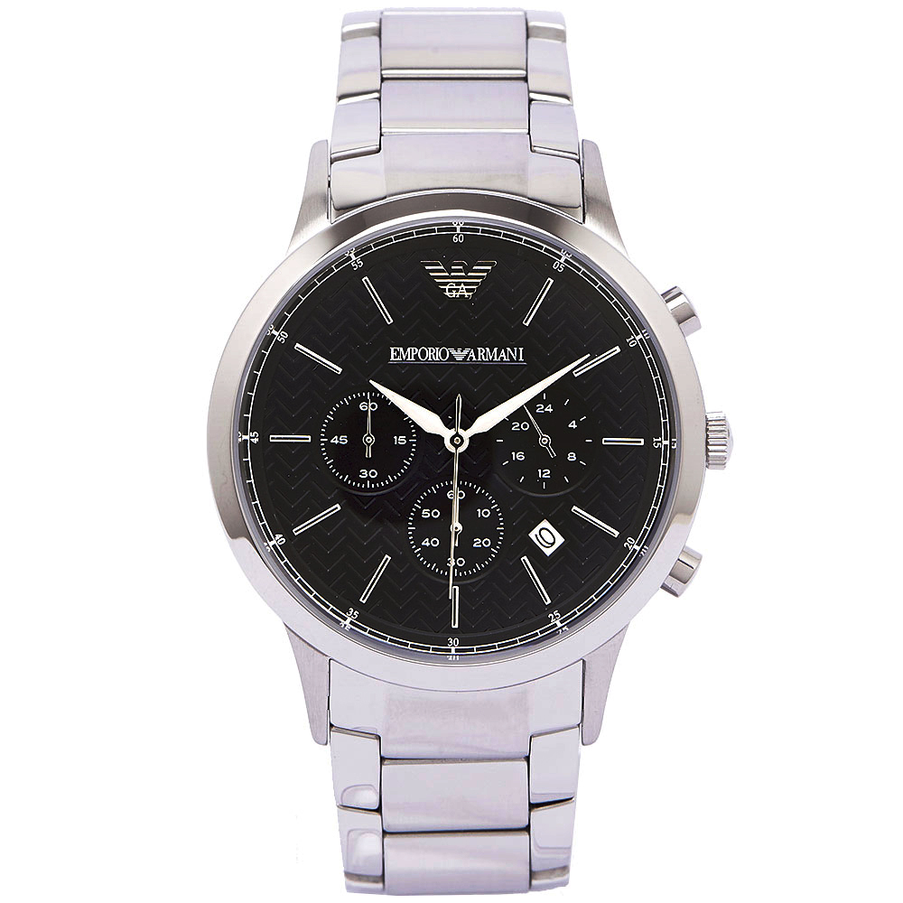 EMPORIO ARMANI 時尚男性三眼手錶 AR2486 靛色紋面x銀/42mm