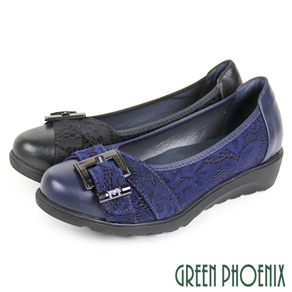 【GREEN PHOENIX】緹花蕾絲方釦全真皮小坡跟娃娃鞋U8-28571