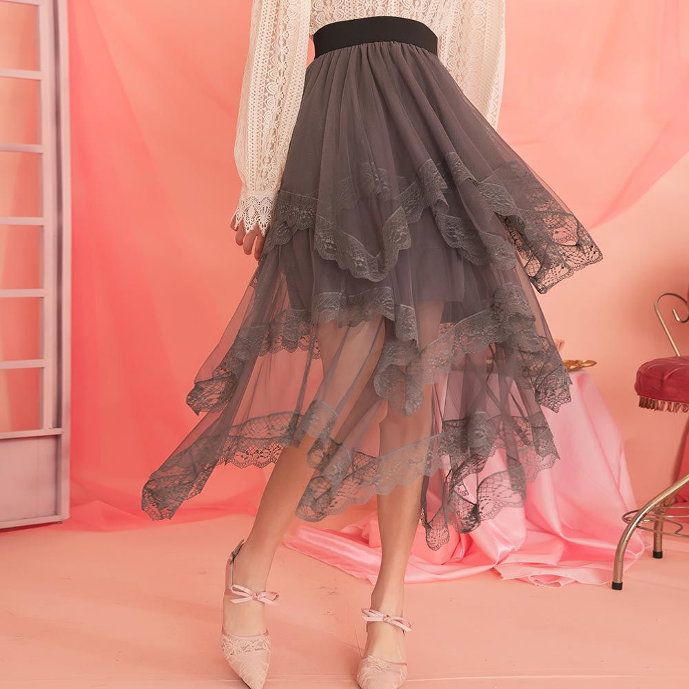露比午茶-蕾絲滾邊不規則層次鬆緊紗裙長裙